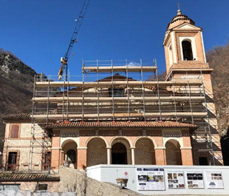 Malte speciali Mapei per il restauro del Santuario dell'Ambro a Montefortino